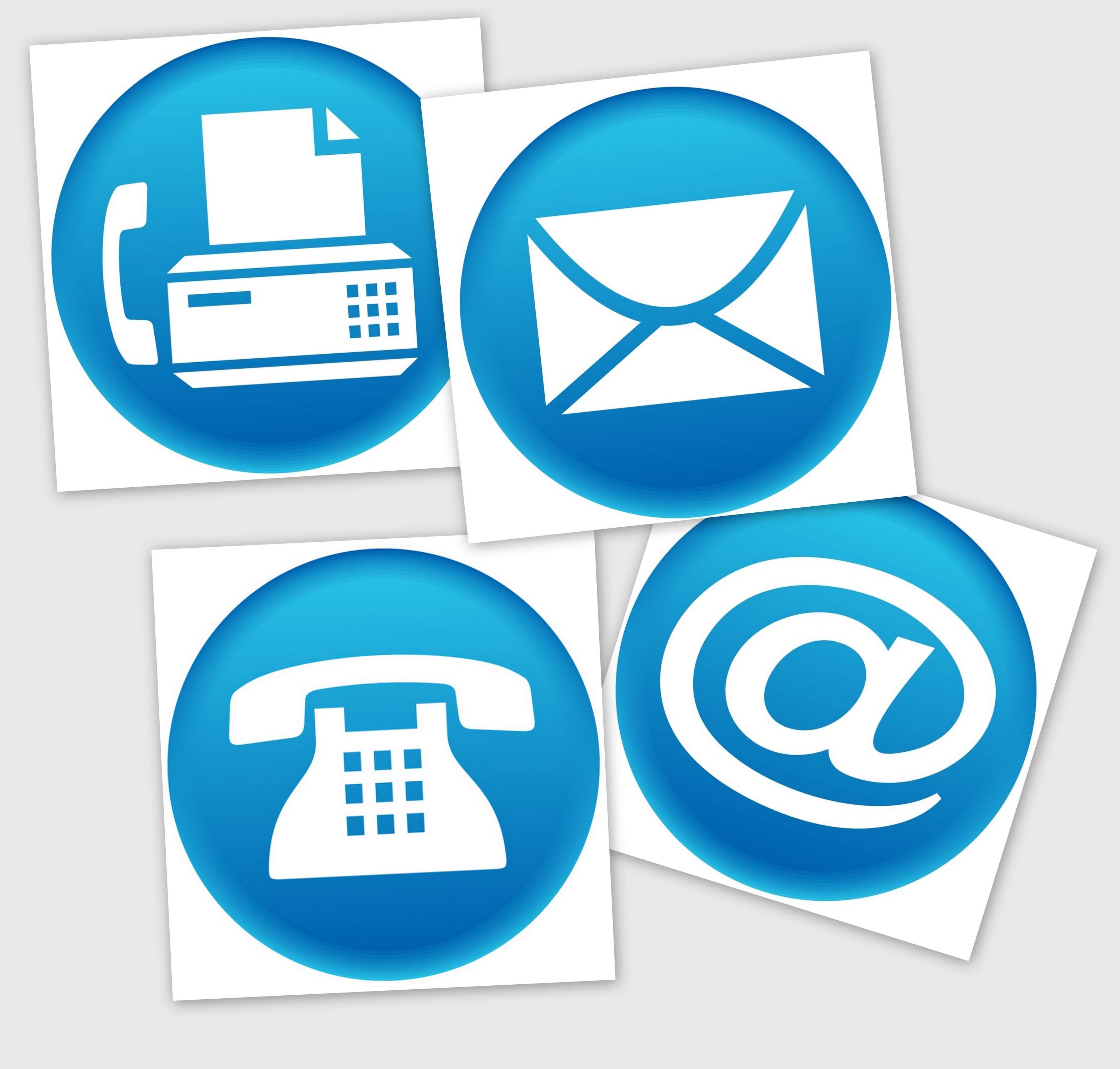 icone rappresentanti chiocciola email, fax, telefono e busta lettera